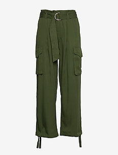JETNA - bukser med brede ben - deep green