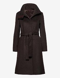 CORI - manteaux en laine - dark chokolate