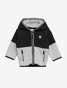 HOODED CARDIGAN - BLACK/GREY
