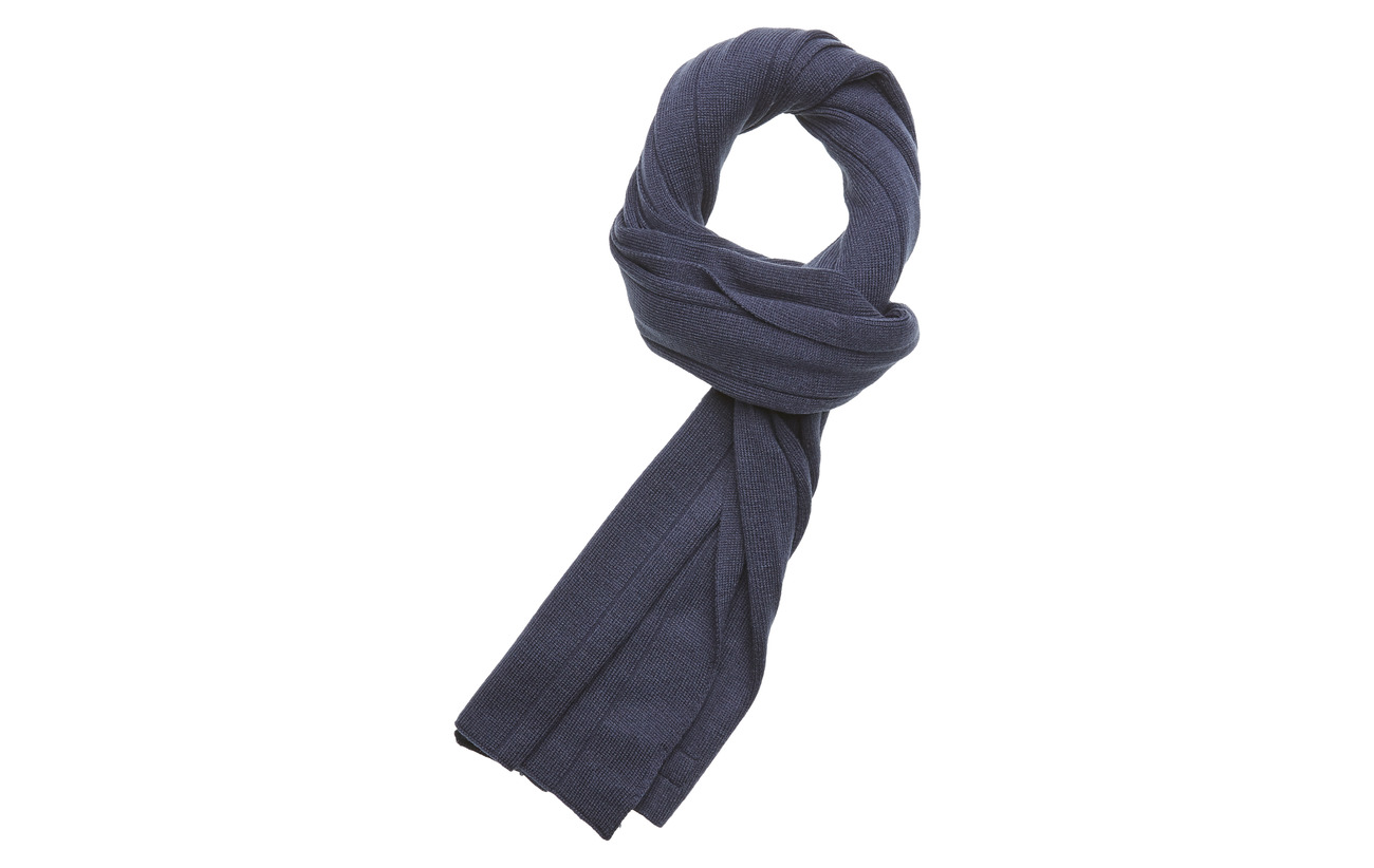 Timberland Rib Scarf With Logo Patch - DRESS BLUES