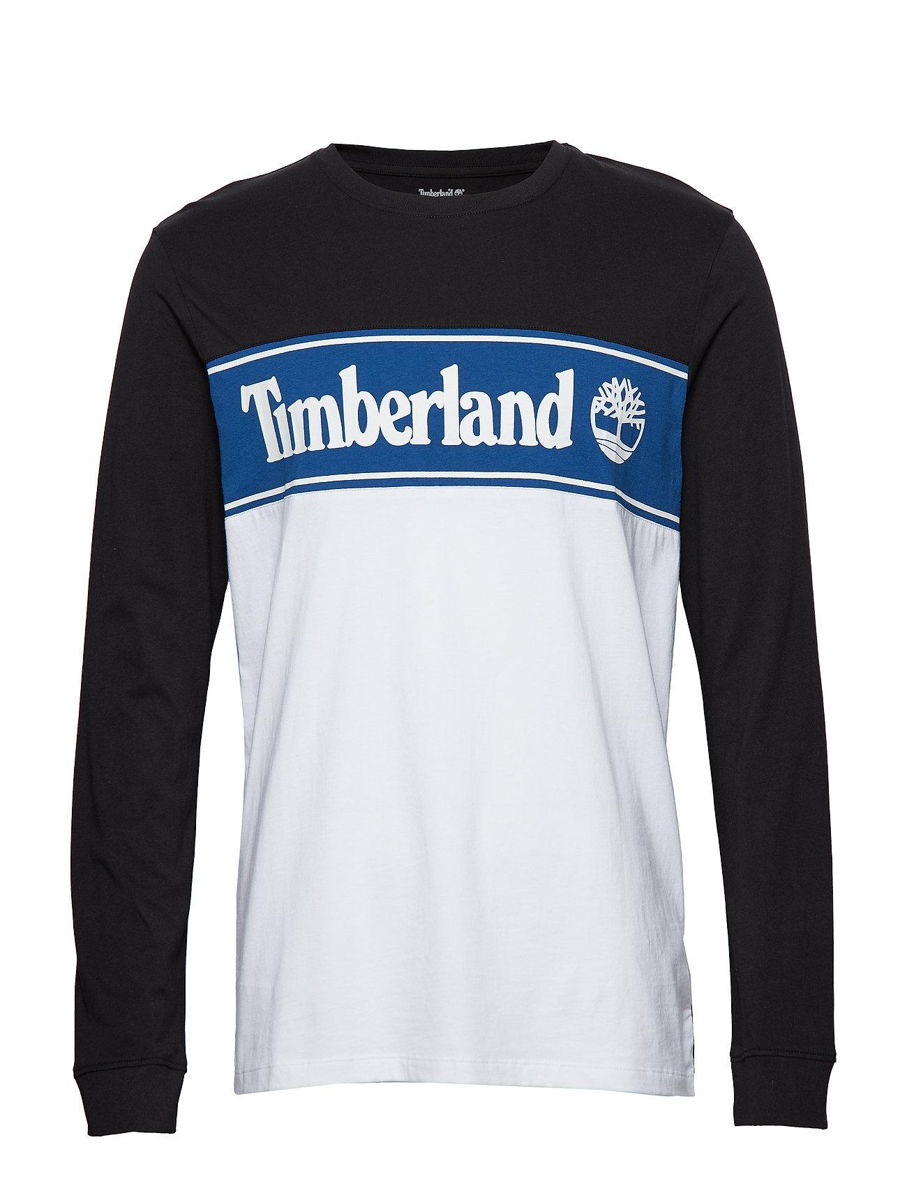 Timberland SS Cut & Sew Linear Logo Tee - BLACK/WHITE