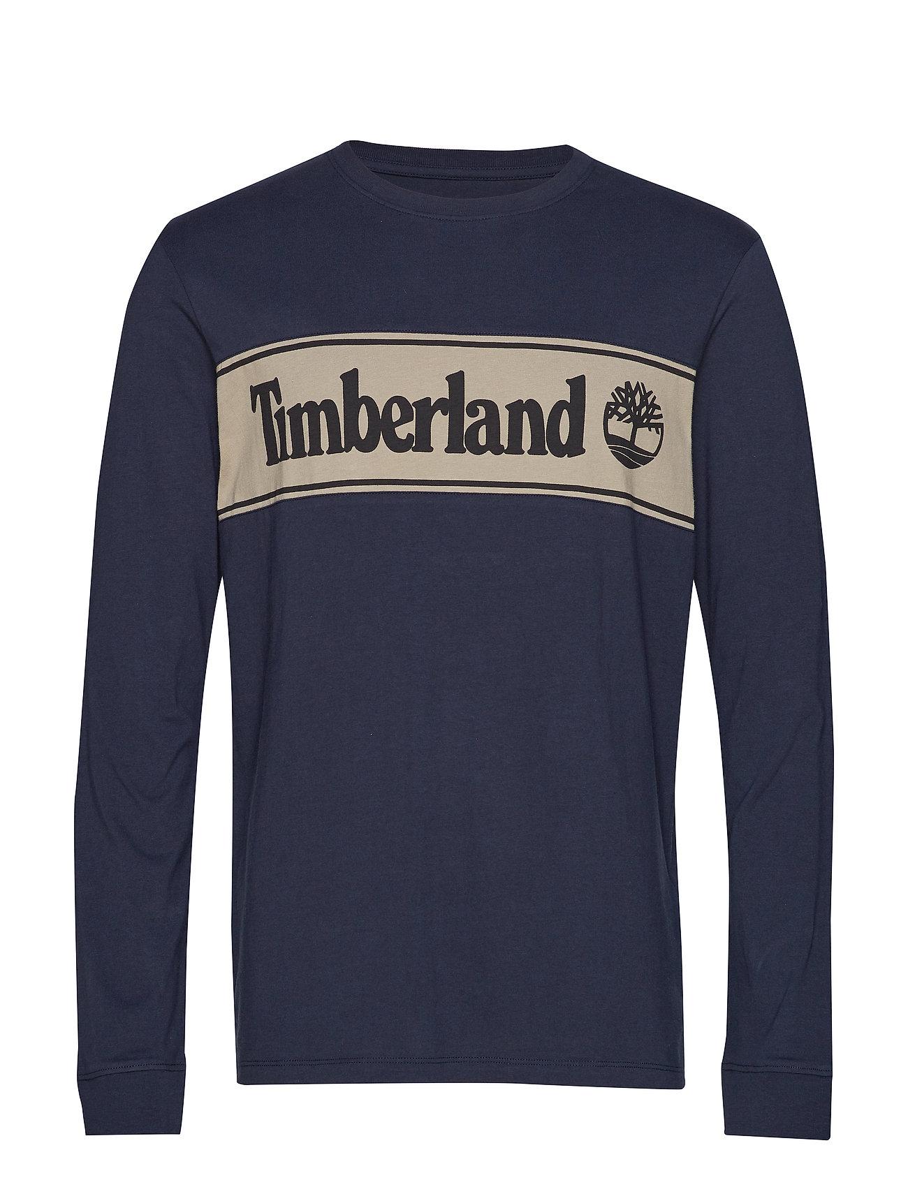 Timberland SS Cut & Sew Linear Logo Tee - DK SAPPHIRE/ELEPHANT SKIN