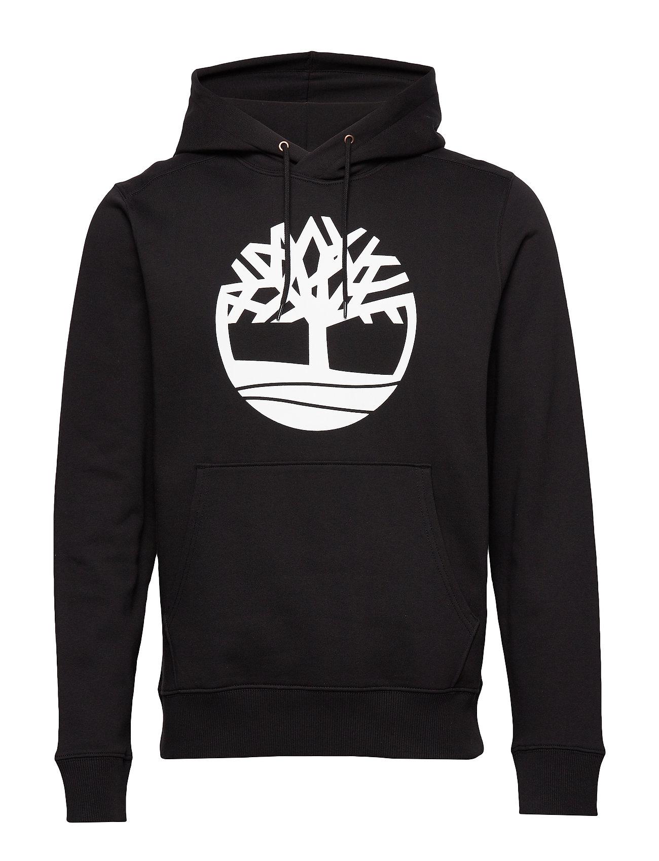 Timberland Core Tree Logo Pullover Hoodie (Brushback) - BLACK