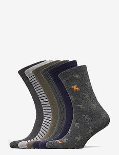 6PP LOGO STRIPE MIX CREW GIFT BOX - regular socks - peacoat