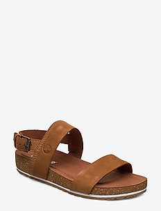 Malibu Waves 2 Band Sandal - flat sandals - saddle