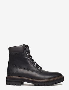 London Square 6in Boot - niski obcas - jet black