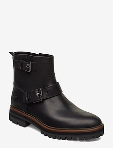 London Square Biker - flat ankle boots - jet black