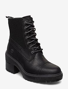 SILVER BLOSSOM MID BLK - ankelstøvler med hæl - jet black