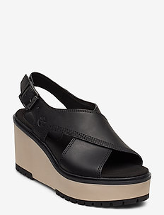 Koralyn Cross Band Wedge - heeled sandals - jet black