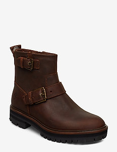 London Square Biker - flat ankle boots - buckthorn brown