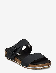 Malibu Waves 2 Band Slide - flat sandals - jet black