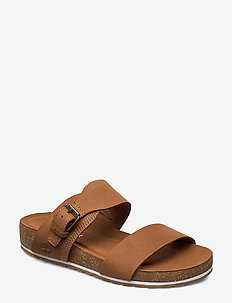 Malibu Waves 2 Band Slide - flat sandals - saddle