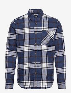LS Heavy Flannel check - casual shirts - dark denim yd
