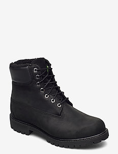 6 in Premium Fur/Warm Lined Boot - med snøring - black