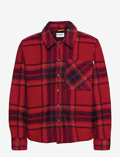 Plaid Fleece Overshirt - tops - scarlet sage yd