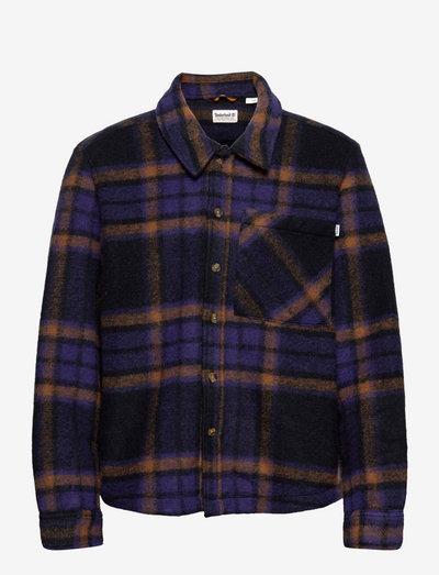 Plaid Fleece Overshirt - tops - deep blue yd