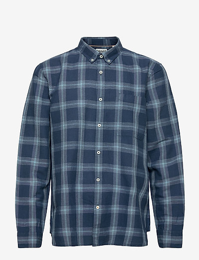 LS Linen Check Shirt - geruite overhemden - dark denim yd