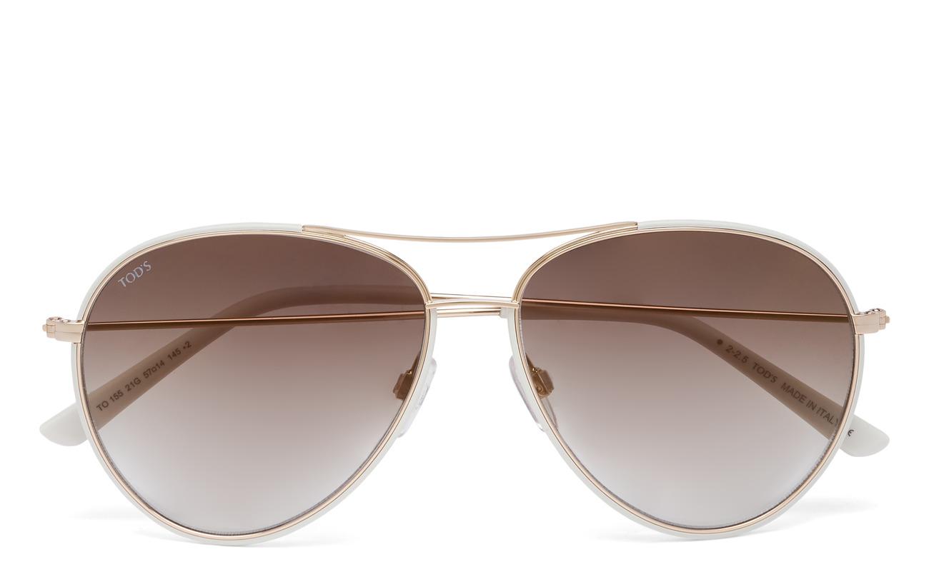 TODS Sunglasses Women TO0155 - 21G -WHITE / BROWN MIRROR