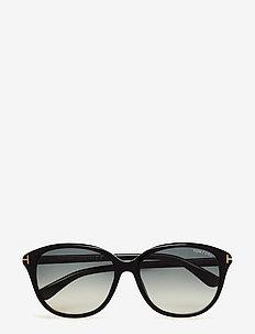 Tom Ford KARMEN - d-shaped - 01b -shiny black / gradient smoke