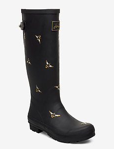 Welly Print - rain boots - blkmtlbees
