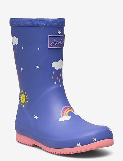 Jnr Roll Up - unlined rubberboots - blue clouds