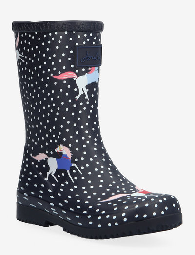 Jnr Roll Up - unlined rubberboots - navy spotty horses