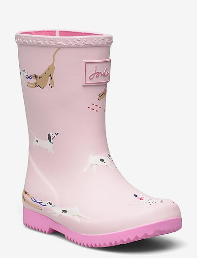 Jnr Roll Up - unlined rubberboots - pink dogs