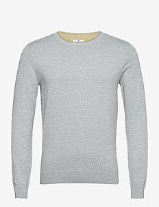 basic crew n - basic gebreide truien - light soft grey melange