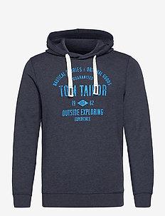 hoodie with print - hoodies - sky captain blue white melange