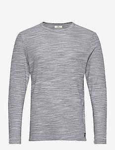 waffle jerse - basic t-shirts - light stone grey melange