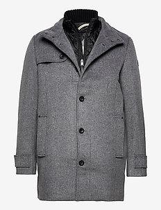 wool coat NO - ullrockar - mid grey wool jacket structure