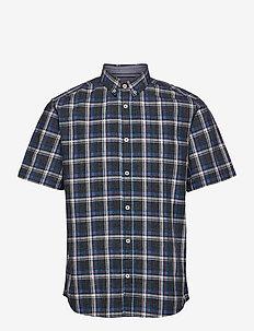 regular spac - checkered shirts - navy space yarn check