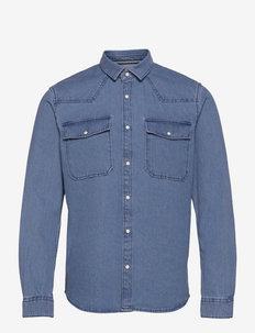 regular deni - basic overhemden - clean light stone blue denim