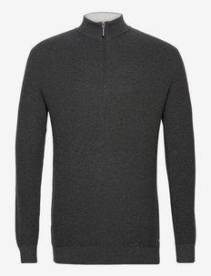 troyer with - half zip - black grey melange