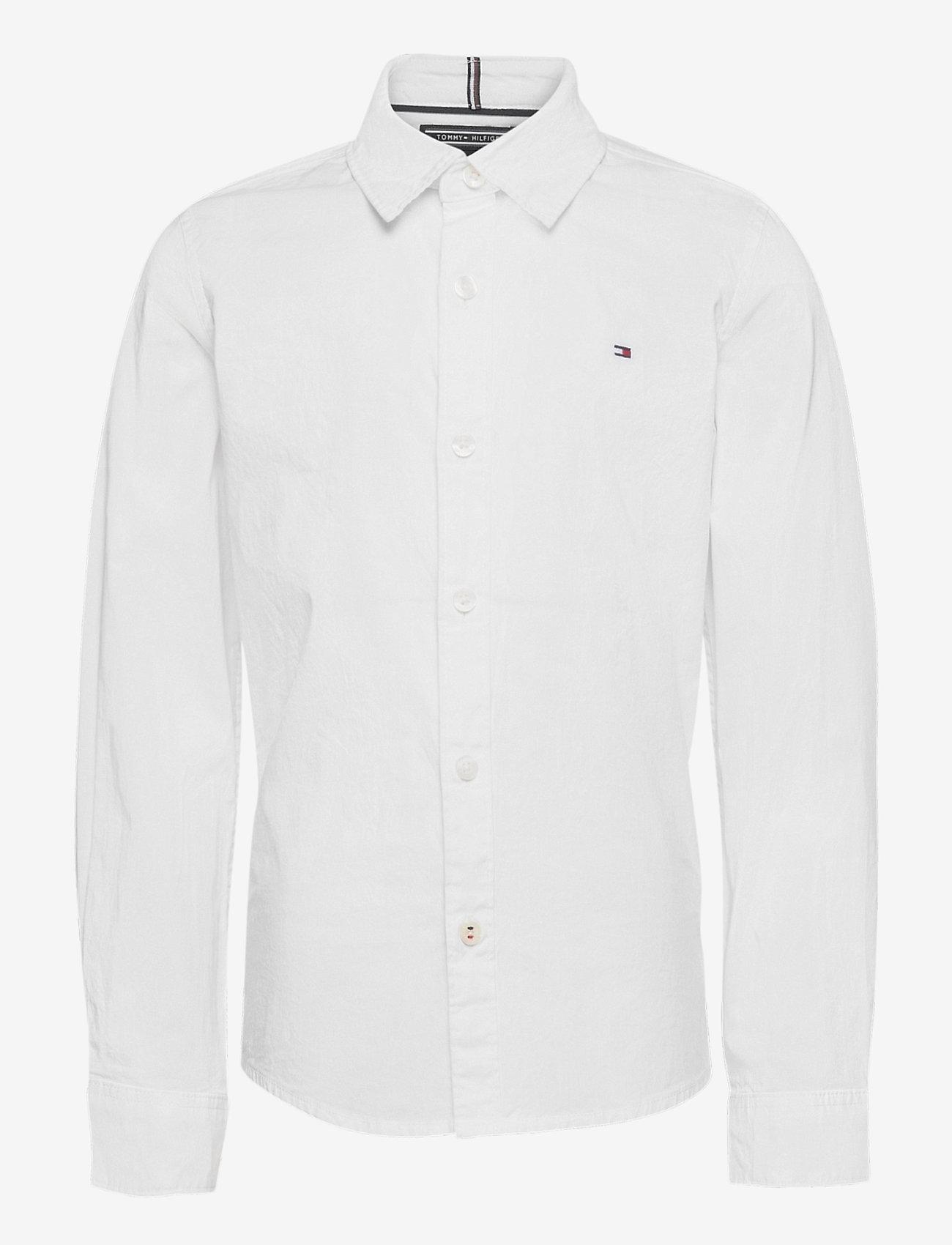 Tommy Hilfiger - BOYS SOLID STRETCH POPLIN SHIRT L/S - overhemden - bright white - 0