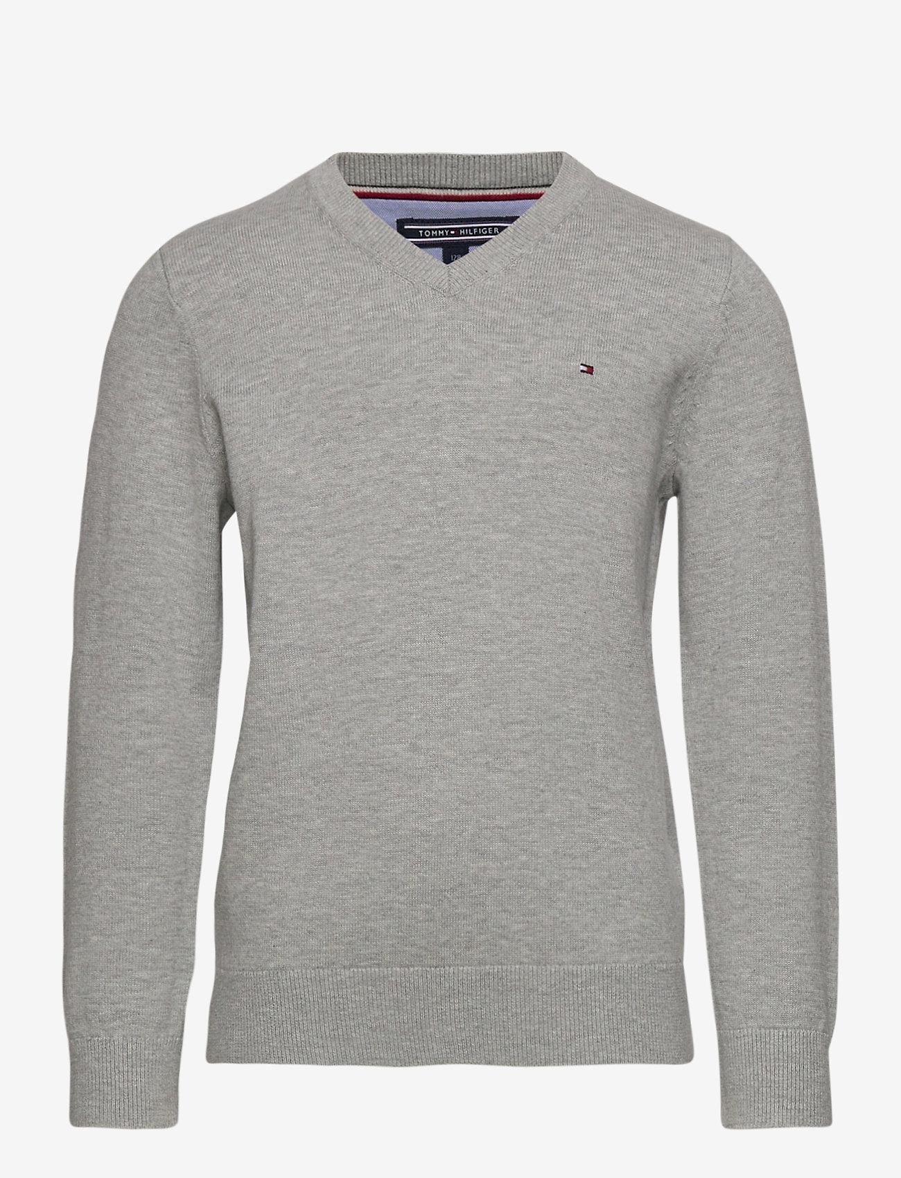 Tommy Hilfiger - BOYS BASIC V-NECK SWEATER - sweatshirts - grey heather - 0