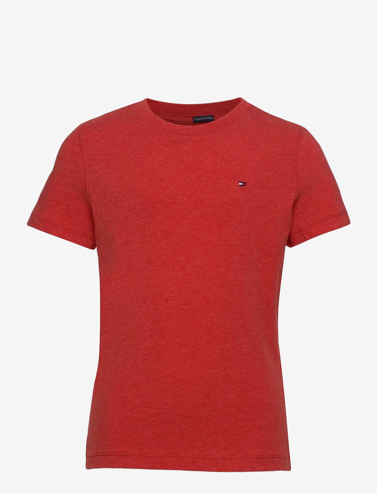 Tommy Hilfiger - BOYS BASIC CN KNIT S - short-sleeved - apple red heather - 0