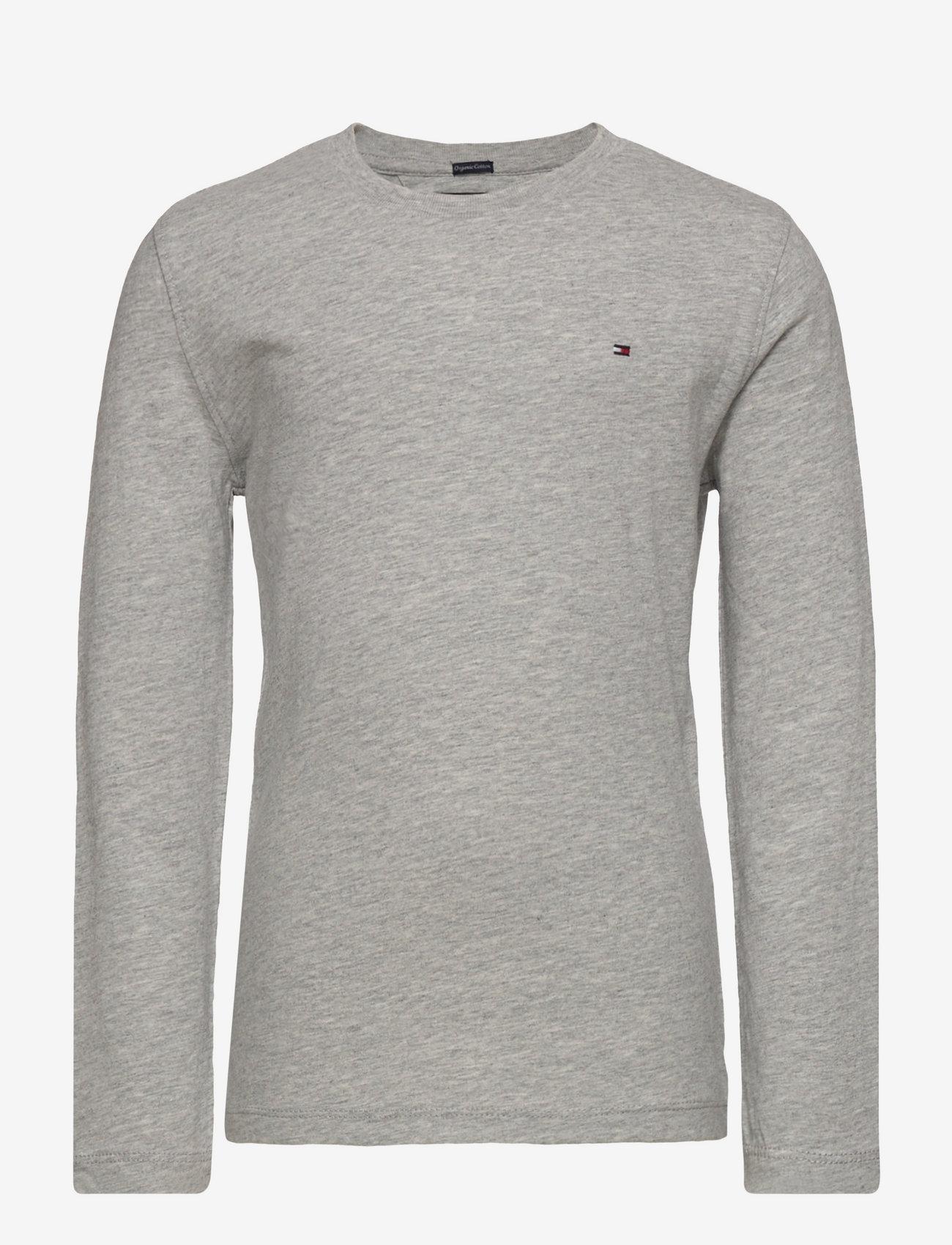 Tommy Hilfiger - BOYS BASIC CN KNIT L - long-sleeved t-shirts - grey heather - 0