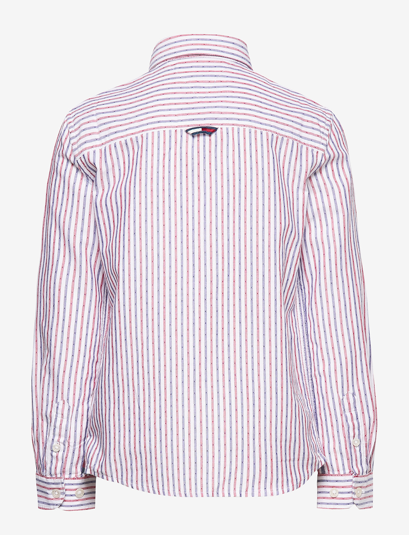 Tommy Hilfiger - DOBBY STRIPE SHIRT L - shirts - white stripe 02/racing red - 1