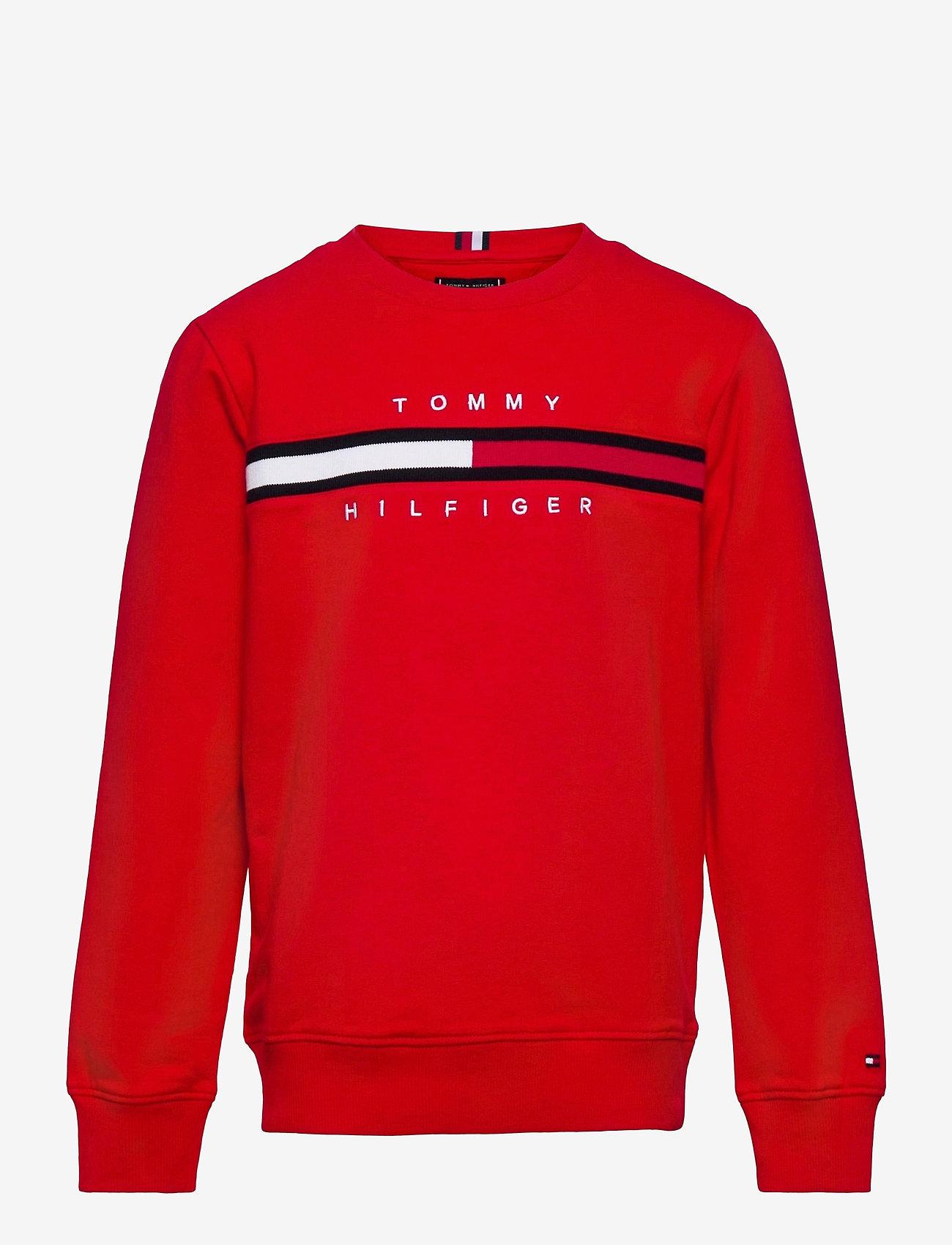Tommy Hilfiger - FLAG RIB INSERT SWEATSHIRT - sweatshirts & hættetrøjer - deep crimson - 0
