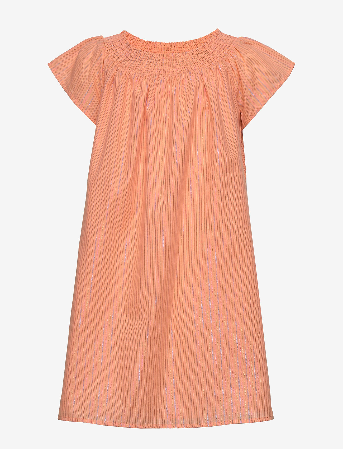Tommy Hilfiger - LUREX STRIPE DRESS S/S - robes - melon orange - 0