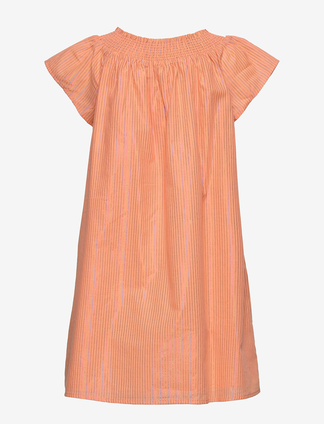 Tommy Hilfiger - LUREX STRIPE DRESS S/S - robes - melon orange - 1