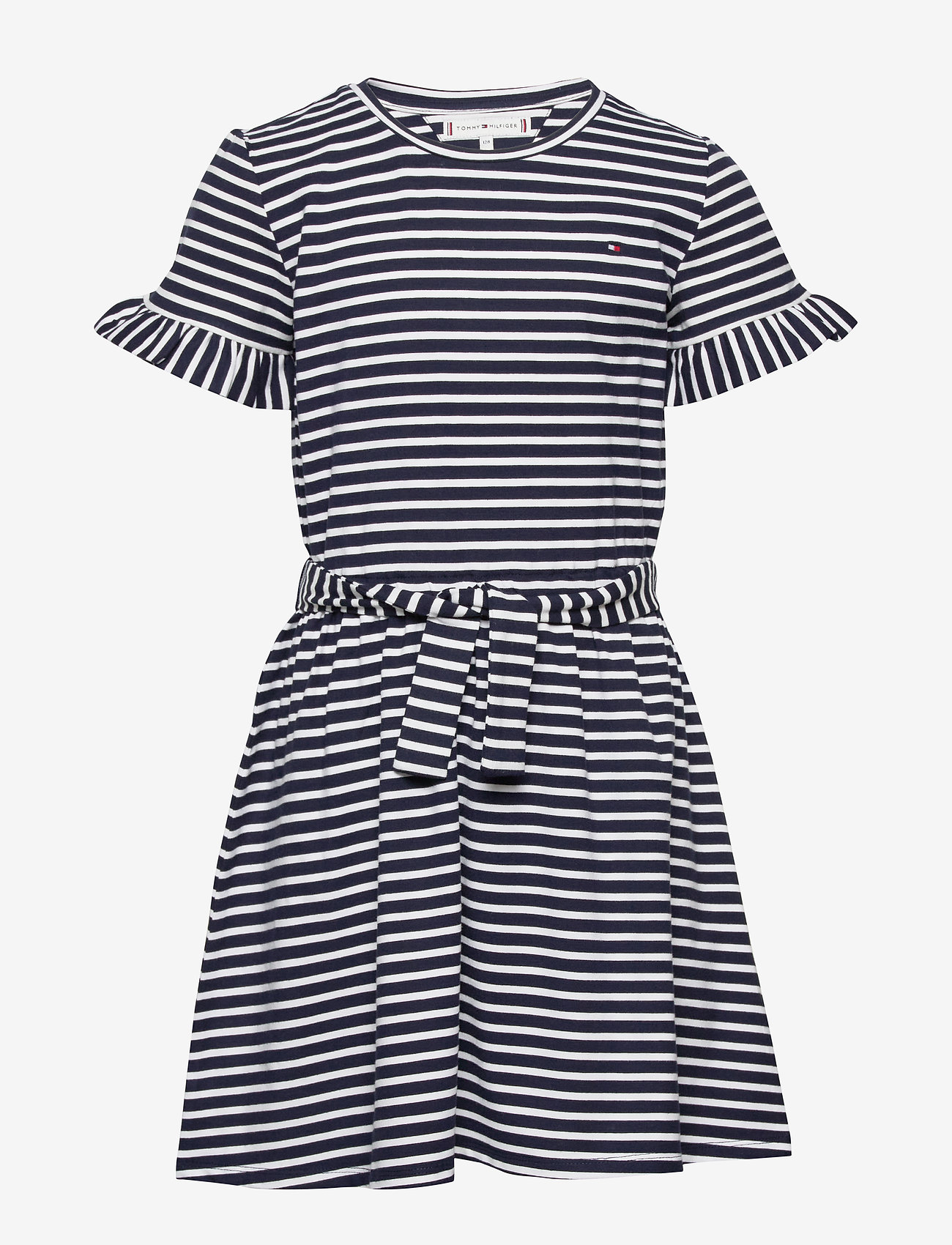 Tommy Hilfiger - RUFFLE STRIPE JERSEY DRESS  S/S - dresses - twilight navy/ white - 0