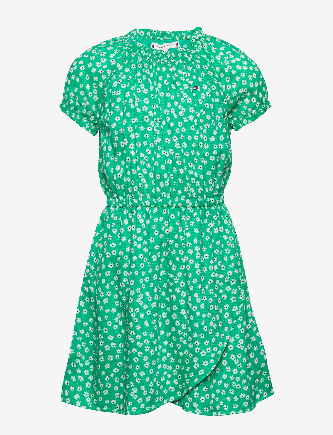Tommy Hilfiger - DITSY FLOWER WRAP DRESS S/S - robes - cosmic green/ ditsy flower - 0