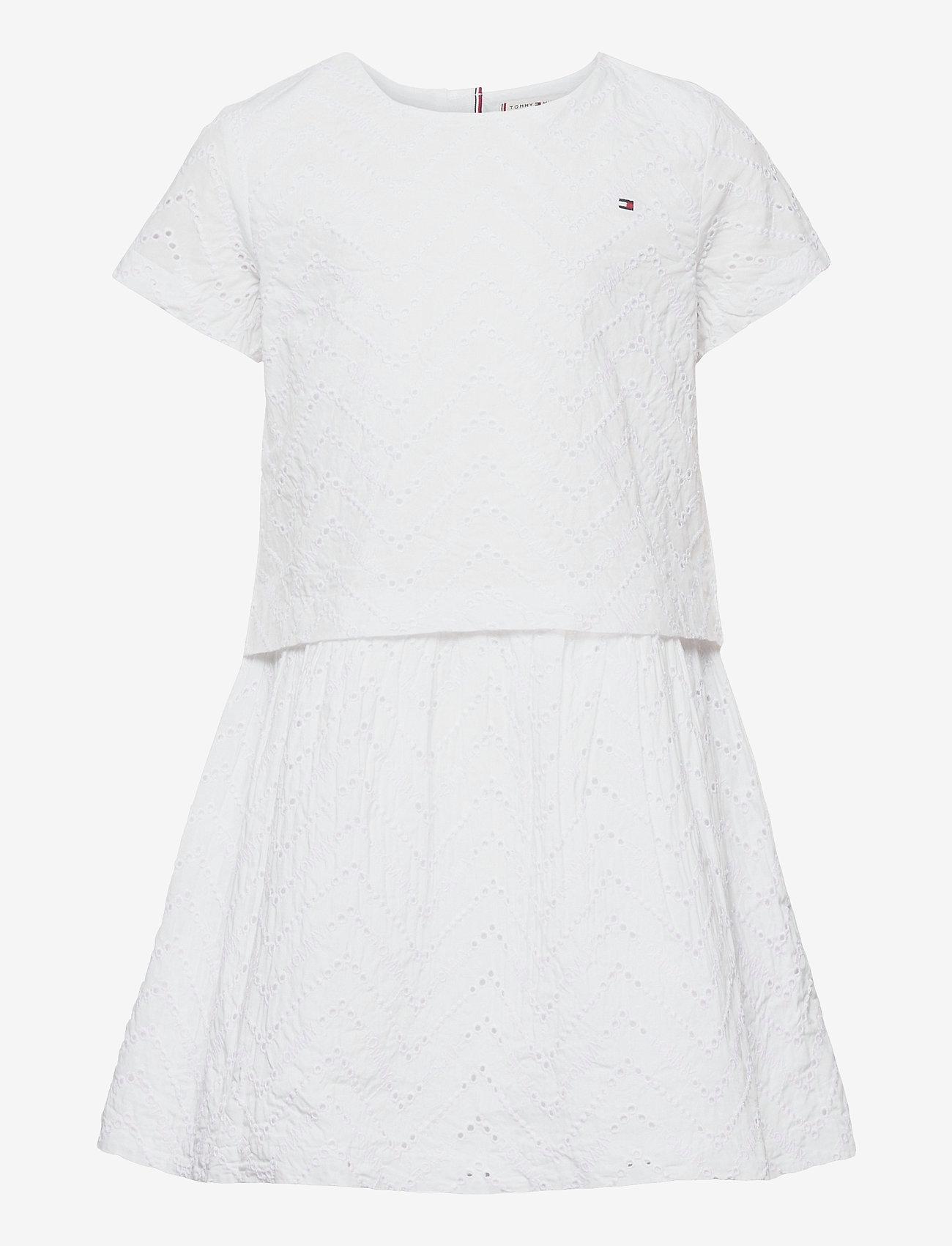 Tommy Hilfiger - BRODERIE ANGLAISE DRESS S/S - kleider - white - 0