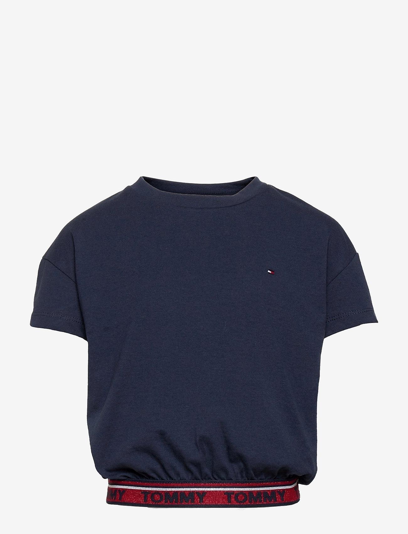Tommy Hilfiger - TOMMY LUREX RIB  TOP S/S - plain short-sleeved t-shirt - twilight navy - 0