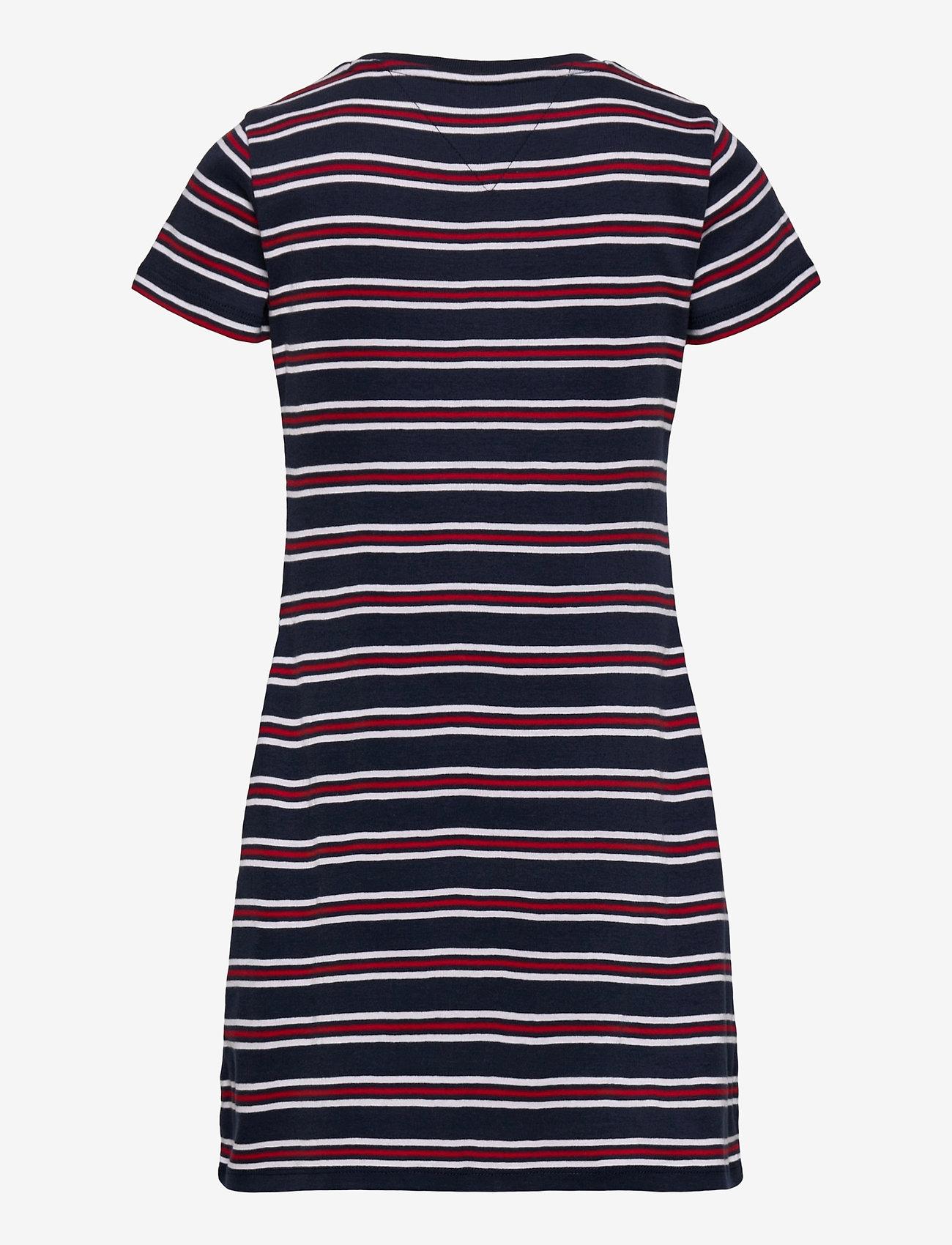 Tommy Hilfiger - STRIPE RIB DRESS S/S - kleider - white / navy stripes - 1