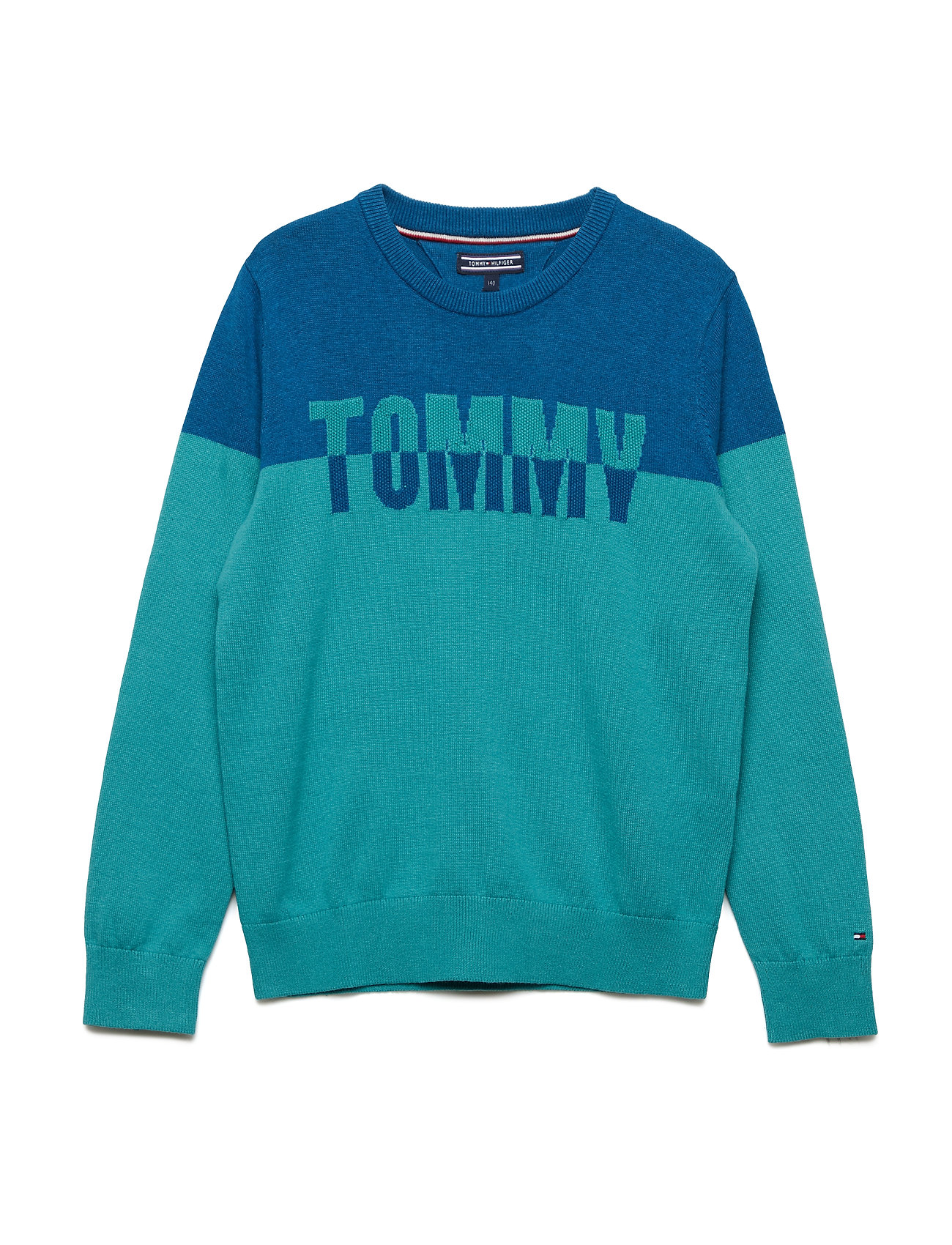 Tommy Hilfiger TH COLORBLOCK CREW N - GREEN-BLUE SLATE/BLUE SAPPHIRE