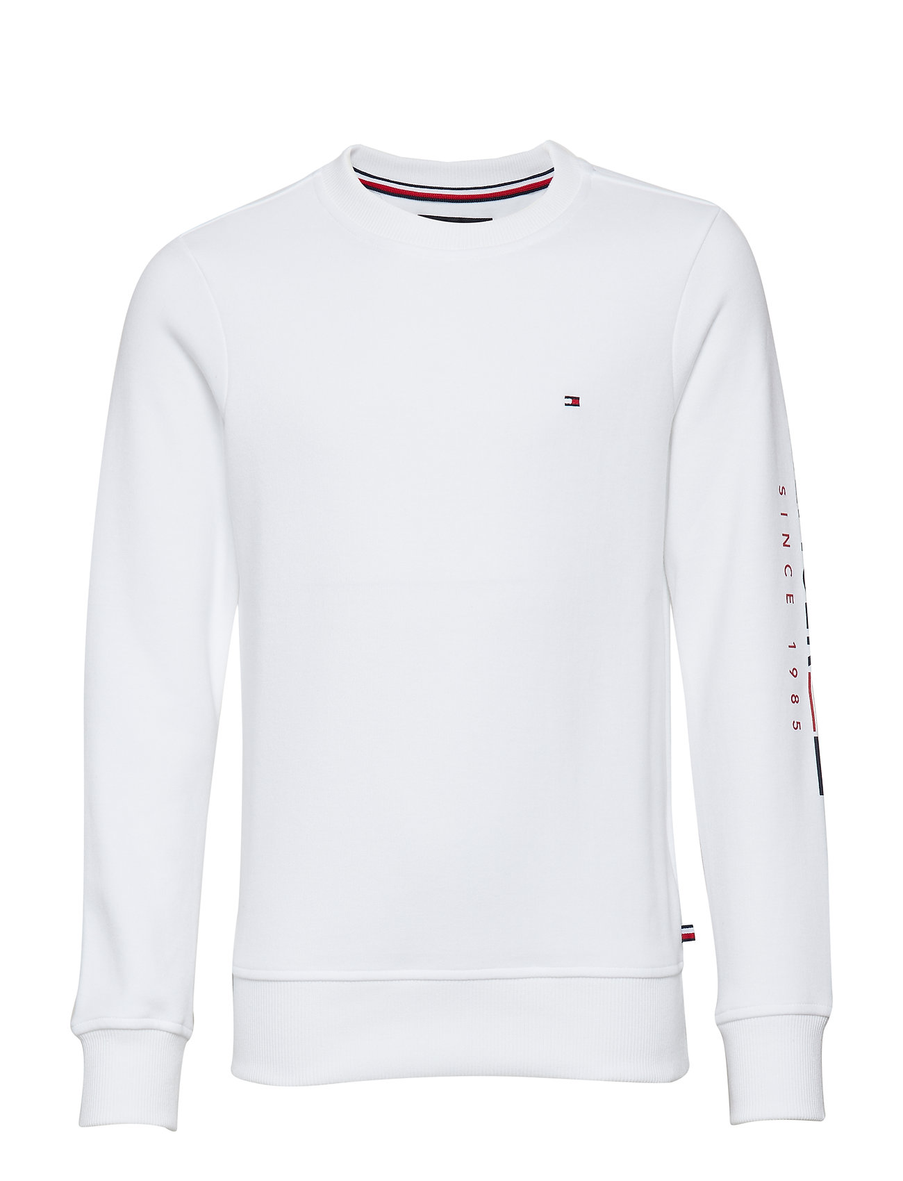 Tommy Hilfiger FLAGS INTERLOCK CREW - BRIGHT WHITE