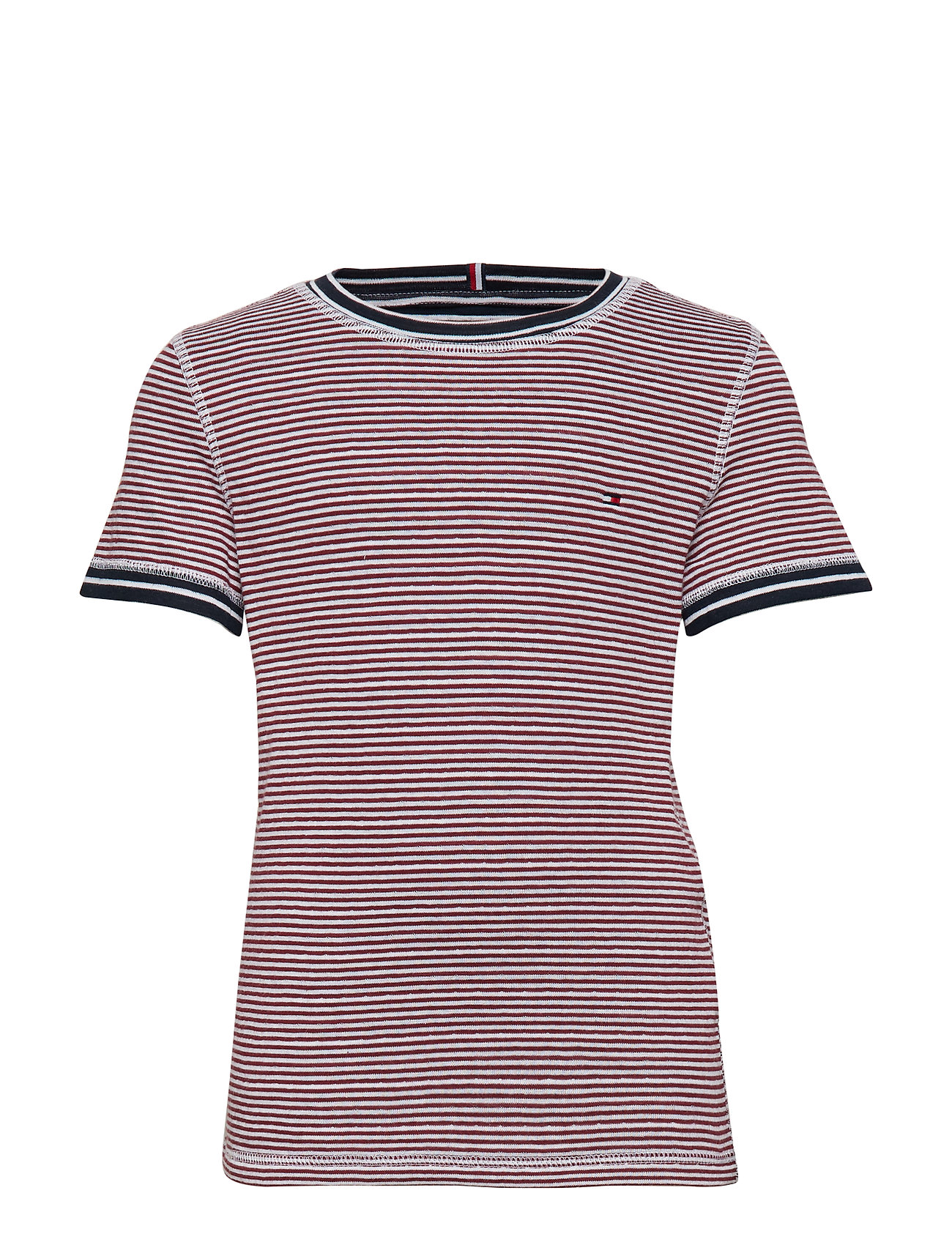 Tommy Hilfiger BONDED TEE S/S - BRIGHT WHITE/CORDOVAN